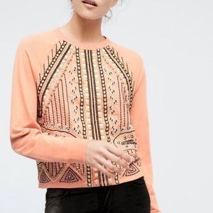 Anthropologie Orange Embroidered Beaded Sweatshirt